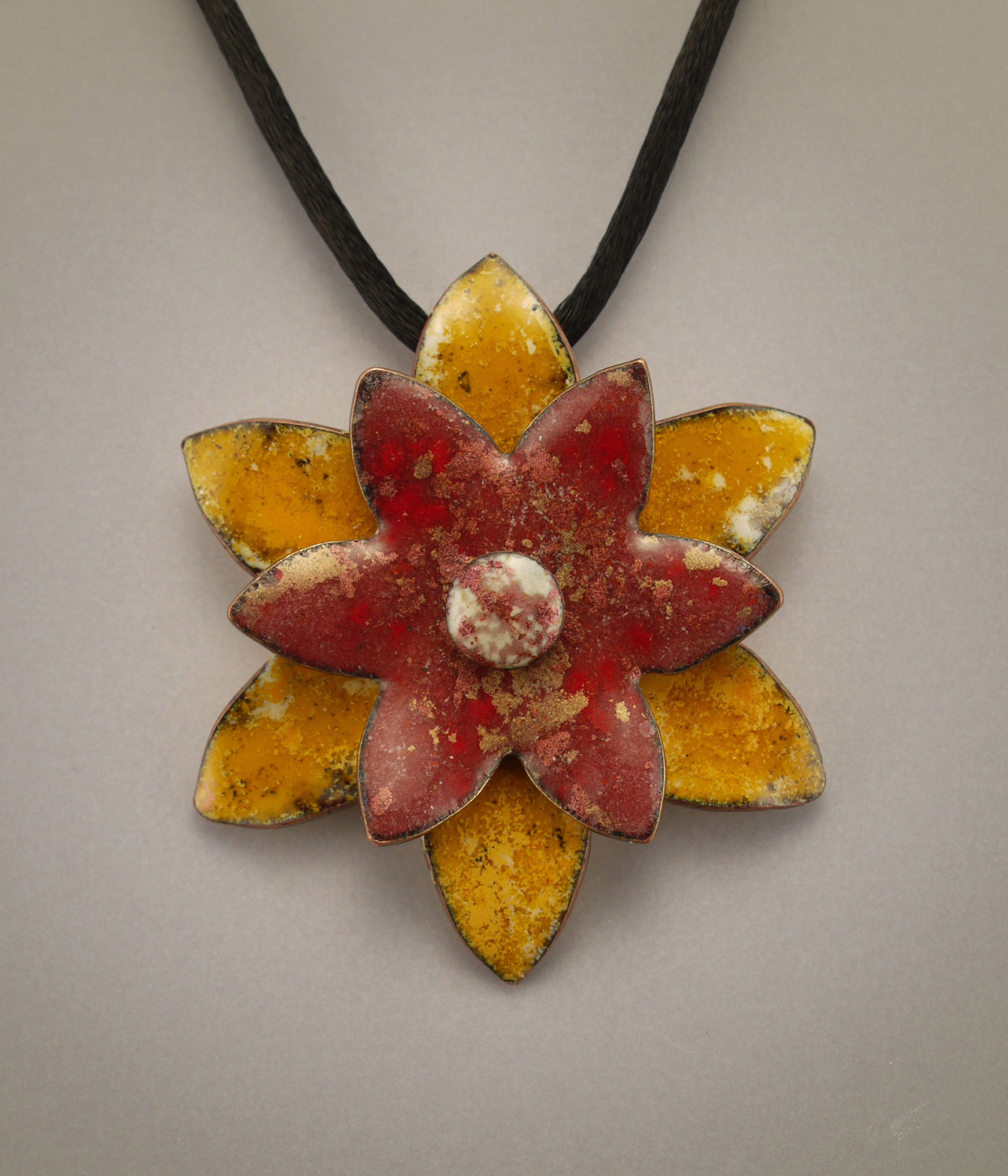 Pink and Gold Enamel Flower