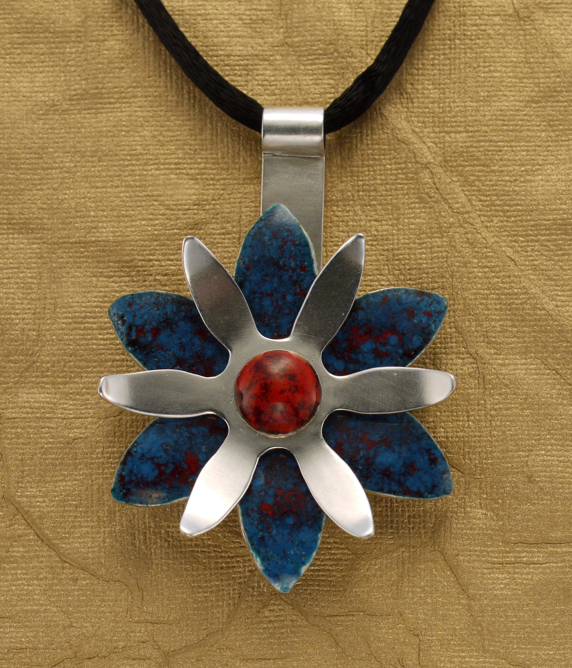Red and Blue Enamel and Silver Flower